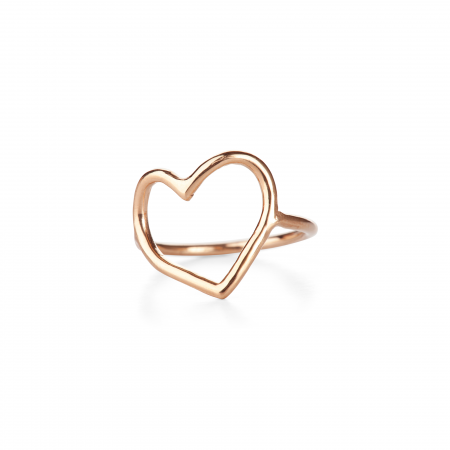 Open Heart Ring in Solid 14k Gold Shop line for Jewelry Cold